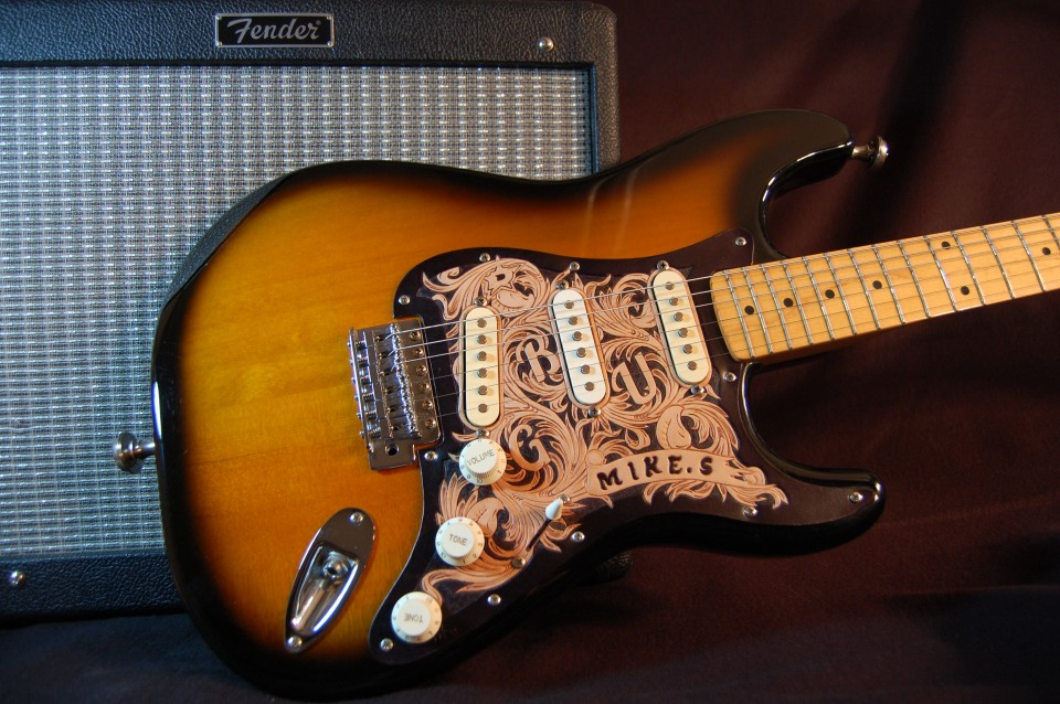Hand tooled custom leather stratocaster pickguard
