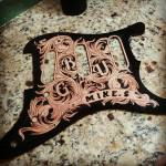 Hand tooled custom leather stratocaster pickguard