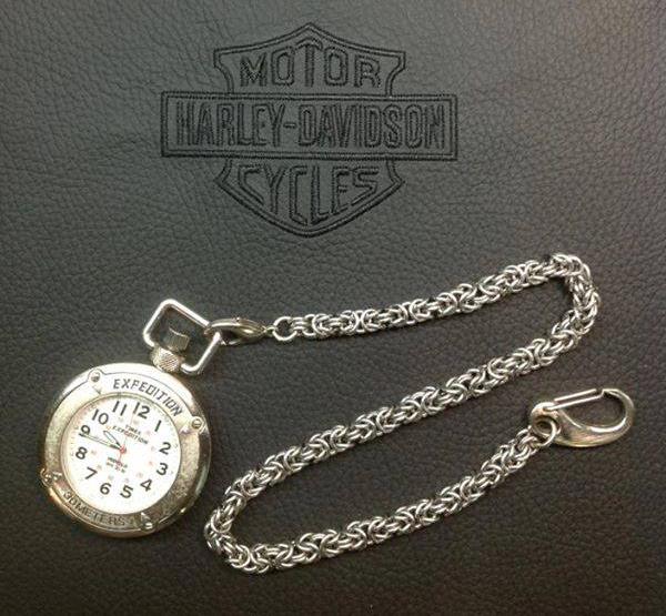 Custom byzantine chainmaille watch chain