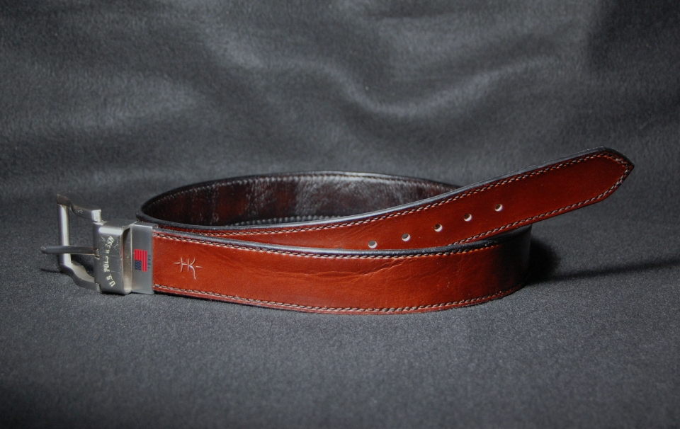 hand stitched reversible belt in brown and black